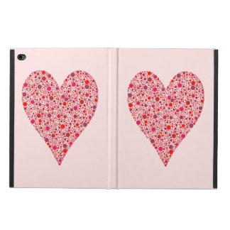 ピンクのハートの形の深紅色の水玉模様 POWIS iPad AIR 2 ケース
