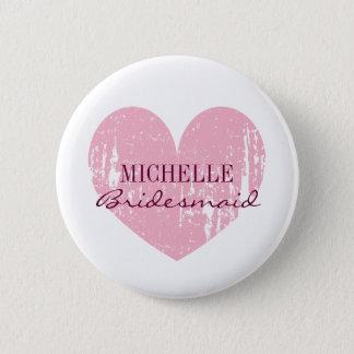 ピンクのハートの新婦付添人は|の名前入りな名前にボタンをかけます 5.7CM 丸型バッジ