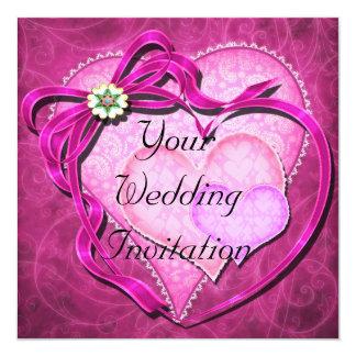 ピンクのハートの結婚式招待状の陰 カード
