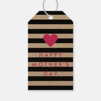 ピンクのハートの「幸せな母Dayが付いている黒いストライプ ギフトタグ