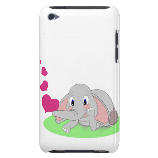 ピンクのハートを吹いている小さい象 Case-Mate iPod TOUCH ケース