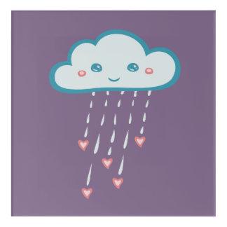 ピンクのハートを雨が降る幸せで青い雨雲 アクリルウォールアート