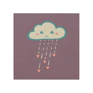 ピンクのハートを雨が降る幸せで青い雨雲 ウッドウォールアート