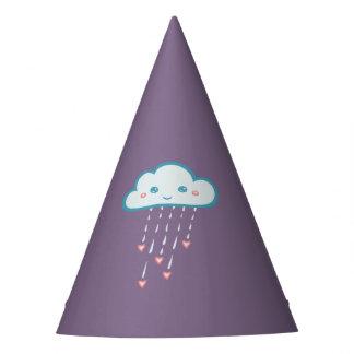 ピンクのハートを雨が降る幸せで青い雨雲 パーティーハット