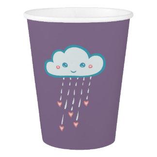 ピンクのハートを雨が降る幸せで青い雨雲 紙コップ