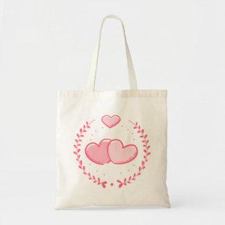 ピンクのハート及び月桂樹のリース愛 トートバッグ