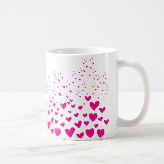 ピンクのハート コーヒーマグカップ