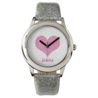ピンクのハート-名前入りでガーリーな一流の腕時計 腕時計