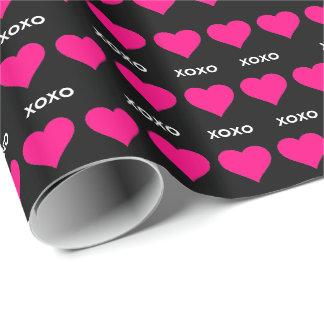 ピンクのハート- xoxo ラッピングペーパー