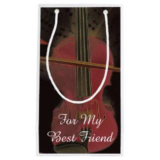 ピンクのバイオリンの親友の芸術 スモールペーパーバッグ