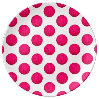 ピンクのバスケットボールパターン 磁器プレート