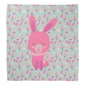 ピンクのバニーおよび花 バンダナ