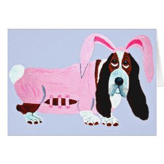 ピンクのバニーのスーツのバセットハウンド カード