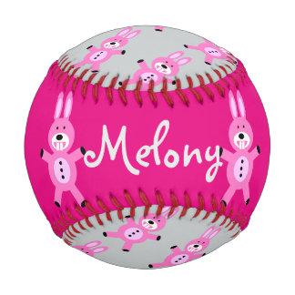 ピンクのバニーの名前入りな野球 ベースボール