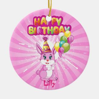 ピンクのバニーの誕生日の漫画 セラミックオーナメント
