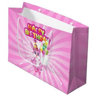 ピンクのバニーの誕生日の漫画 ラージペーパーバッグ
