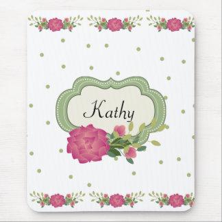ピンクのバラおよび緑の水玉模様のマウスパッド マウスパッド