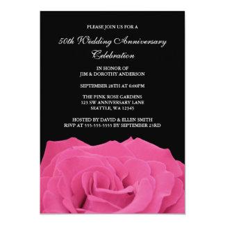 ピンクのバラおよび黒第50の結婚記念日 12.7 X 17.8 インビテーションカード
