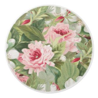 ピンクのバラが付いている花のヴィンテージの陶磁器のノブ セラミックノブ