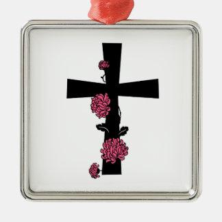 ピンクのバラが付いている黒い十字 メタルオーナメント