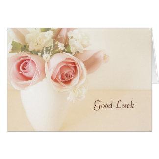 ピンクのバラそして白いカーネーションの幸運カード カード