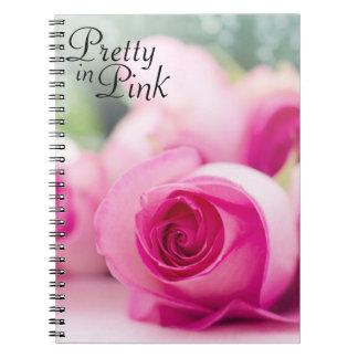 ピンクのバラでかわいらしい ノートブック