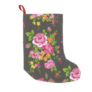 ピンクのバラとのヴィンテージの花柄 スモールクリスマスストッキング