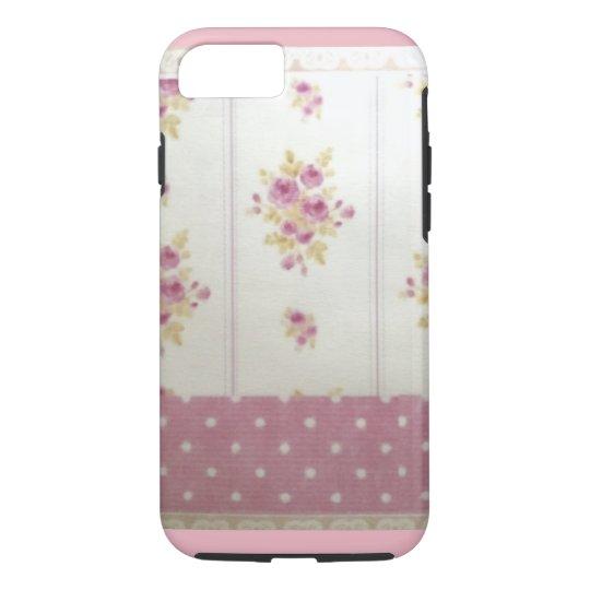 ピンクのバラとドット柄のiPhone7ケース iPhone 8/7ケース