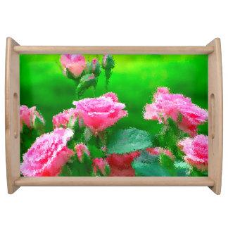 ピンクのバラと自然な大きいトレイ トレー