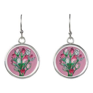 ピンクのバラのイヤリング イヤリング