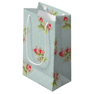 ピンクのバラのギフトバッグの壁紙のプリント スモールペーパーバッグ