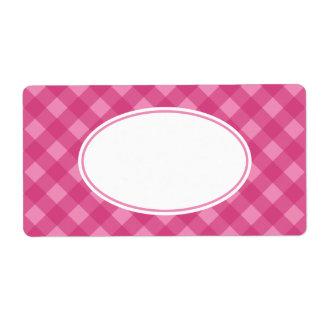 ピンクのバラのギンガムのラベル ラベル