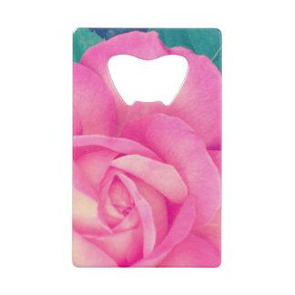 ピンクのバラのクレジットカードの栓抜き クレジットカード ボトルオープナー