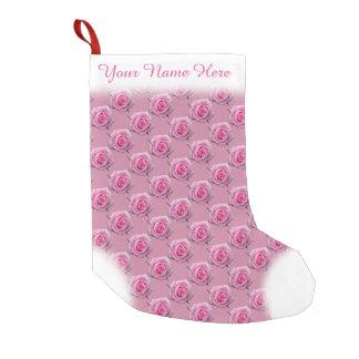 ピンクのバラのストッキングのばら色のクリスマスのストッキングの習慣 スモールクリスマスストッキング