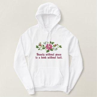 ピンクのバラのスプレー 刺繍入りパーカ