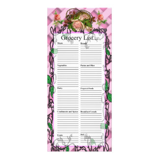 ピンクのバラのデザインの食料雑貨のリストのバスケット ラックカード