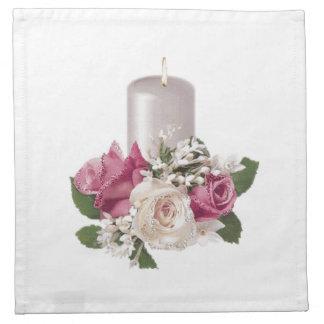 ピンクのバラのナプキンと良否を明りにすかして調べて下さい ナプキン