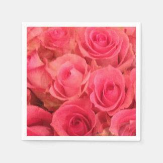 ピンクのバラのナプキン スタンダードカクテルナプキン