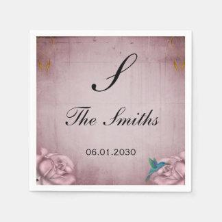 ピンクのバラのハチドリの結婚式 スタンダードカクテルナプキン