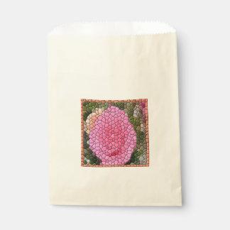 ピンクのバラのモザイク芸術は好意のバッグを平方します フェイバーバッグ