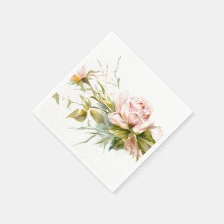 ピンクのバラのヴィンテージの花束 スタンダードカクテルナプキン