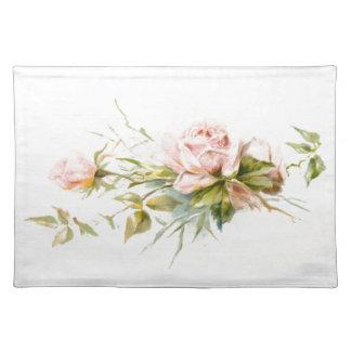 ピンクのバラのヴィンテージの花束 ランチョンマット