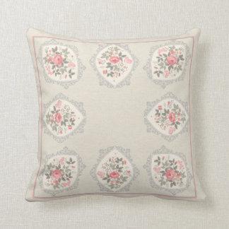 ピンクのバラのヴィンテージの花柄の枕 クッション