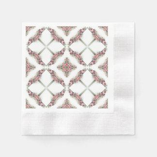 ピンクのバラの万華鏡のように千変万化するパターンパターン 縁ありカクテルナプキン
