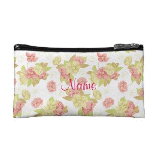 ピンクのバラの名前入りな化粧品のバッグ コスメティックバッグ
