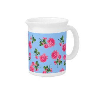 ピンクのバラの国のコテッジの花の水差し-青 ピッチャー