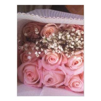 ピンクのバラの招待 カード