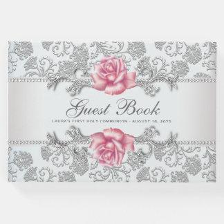 ピンクのバラの最初聖餐の洗礼の来客名簿 ゲストブック