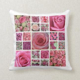 ピンクのバラの正方形のコラージュ クッション