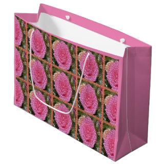 ピンクのバラの正方形のモザイク芸術のギフトバッグ ラージペーパーバッグ